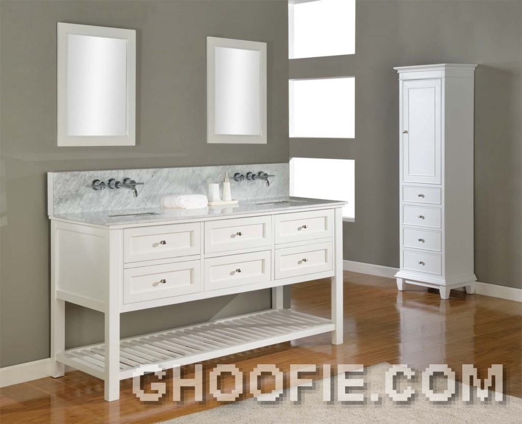 Pearl White Bathroom Mission Double Sink and Wall Mirror