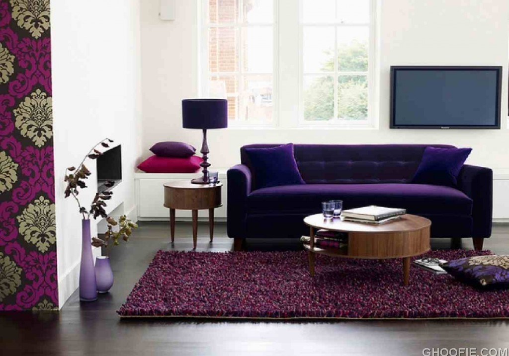 Purple theme living room look beautiful with purple sofas