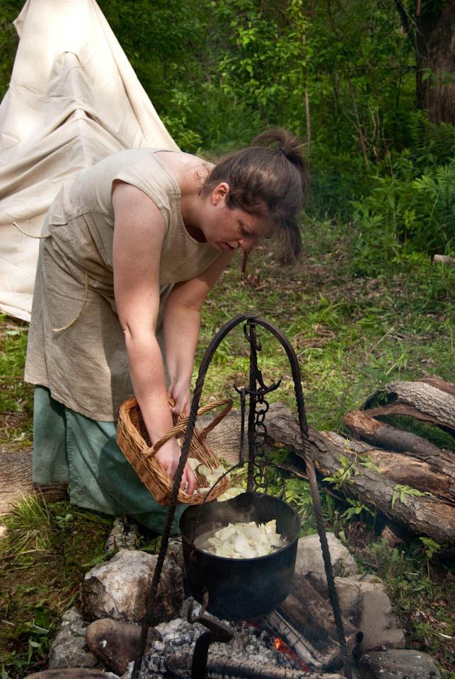 Rustic Outdoor Fireplace Old Drifwood Rattan Basket Black Kettle