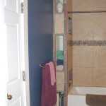 Sleek Ceramic Wall Towel Cubbies Bathroom White Porcelain Bath Tub