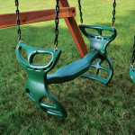 Sleek Green Glider Swings For Playsets Wooden Foundation Green Lawn