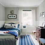 Small American Home Interior Bedroom Strips Green Design