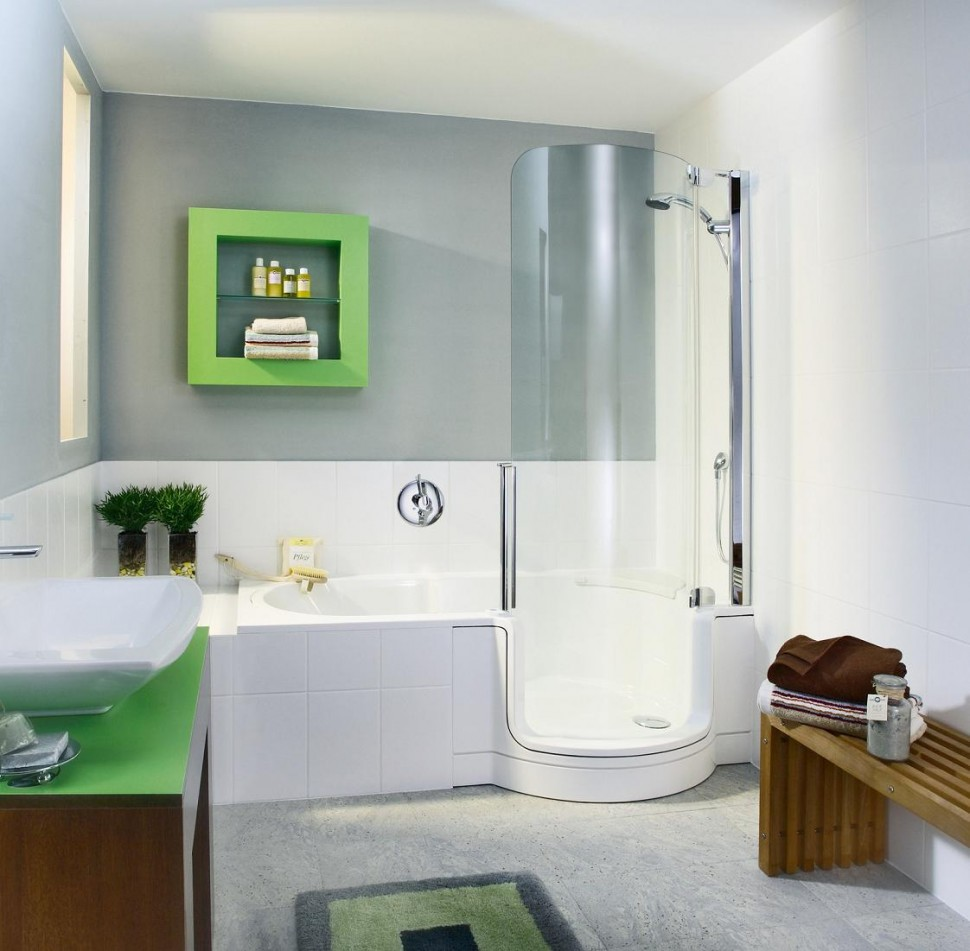 Small Modern Bathroom Design with Towel Rack