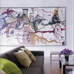 Stunning Modern Interior Design Blog Surrealist Painting Gray Sofa