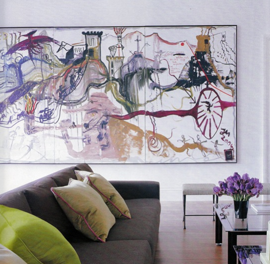Stunning Modern Interior Design Blog Surrealist Painting Gray Sofa