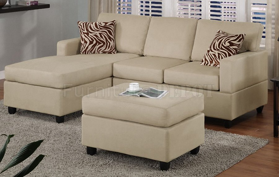 Stunning Modern Minimalist White Cream Small Sectional Sofa