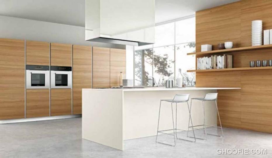 Stylish white bar stools modern range hood italian kitchen for Italian kitchen hood