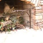 Tough Metallic Cooking Fireplace Crane Driftwood Rustic Stone Fireplace