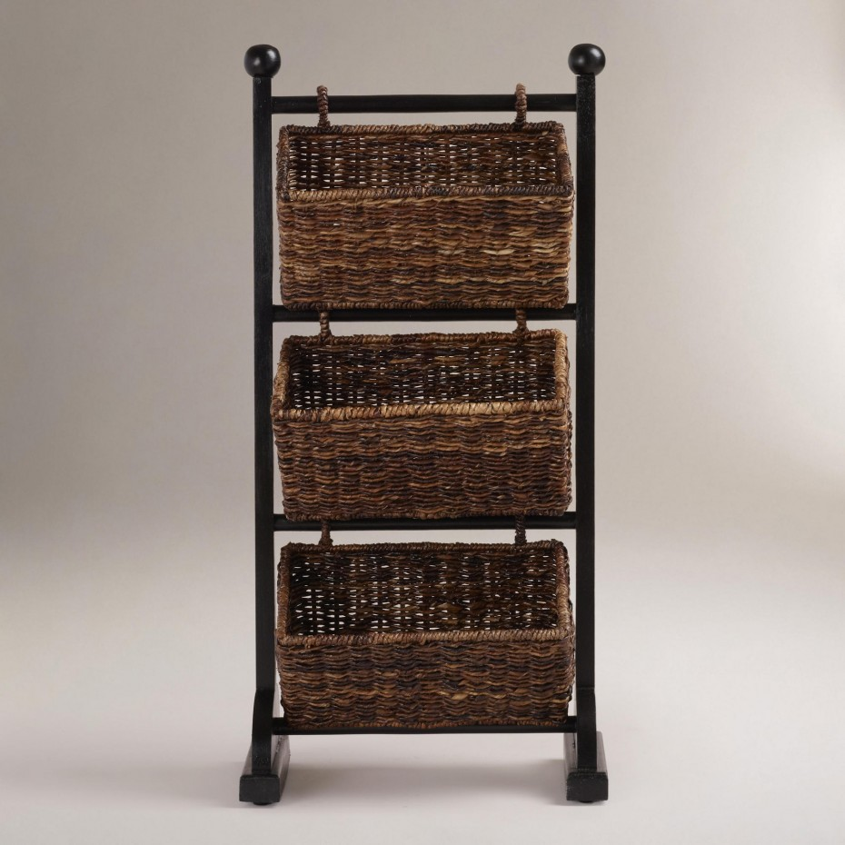 Traditional Rattan Baskets Glossy Dark Stand Cubby Towel Storage