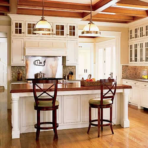 Small Kitchen Designs With Islands: Wood Components For Small Kitchens