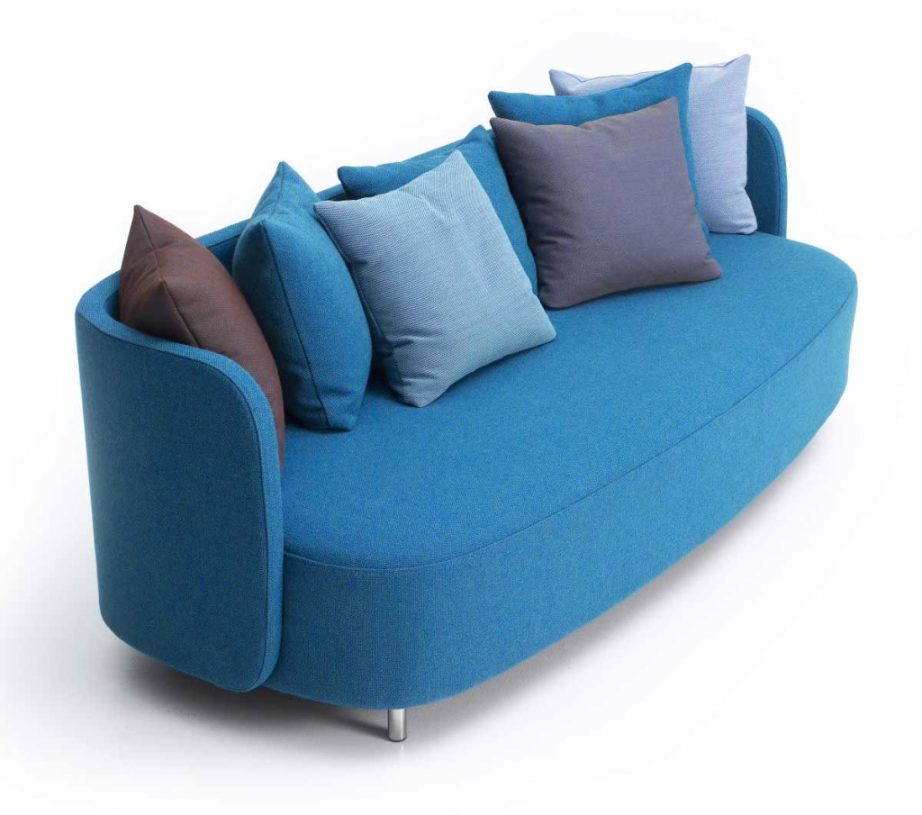 Minimalist blue living room couch