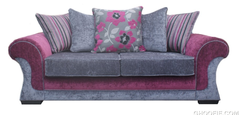 falcon 3 seater purple fabric sofa suite