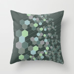 Green checked throw pillow