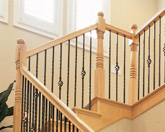 Iron and wood stairway railing