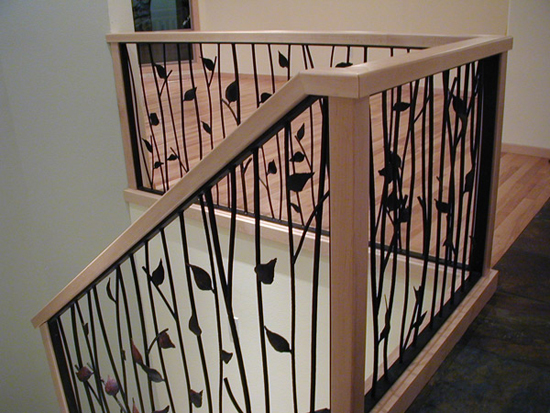 Leaf style railing stairway interior design ideas for Interior wood railing designs