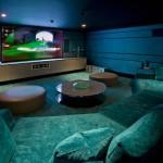 Media room in basement