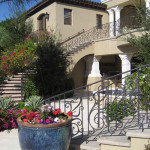 Mediterranean stairway and balcony railing