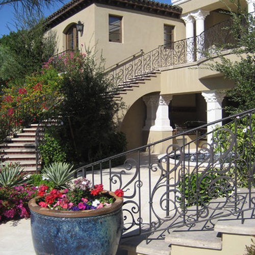 Mediterranean stairway and balcony railing