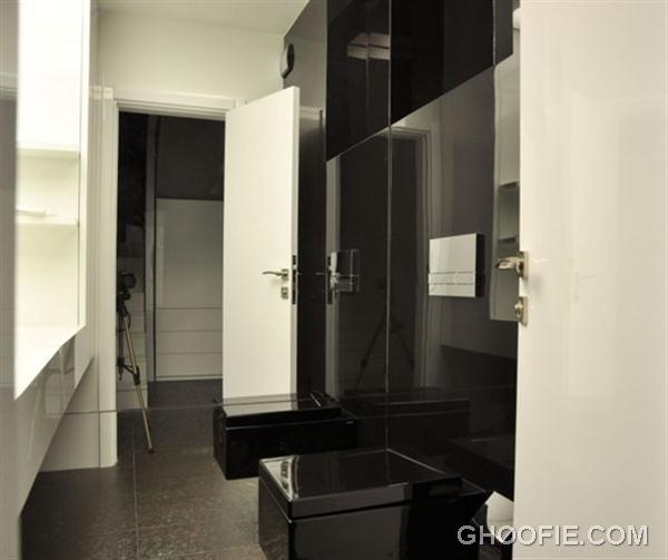 Modern toilet - black and white apartment