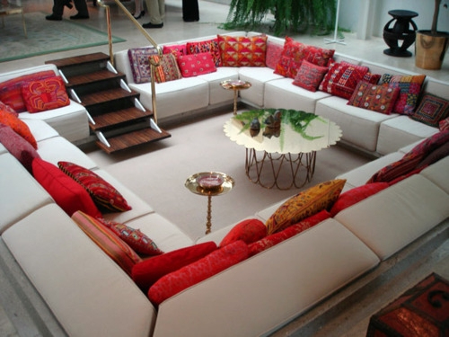 Red and white sunken couch