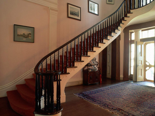 Simple black stairway railing