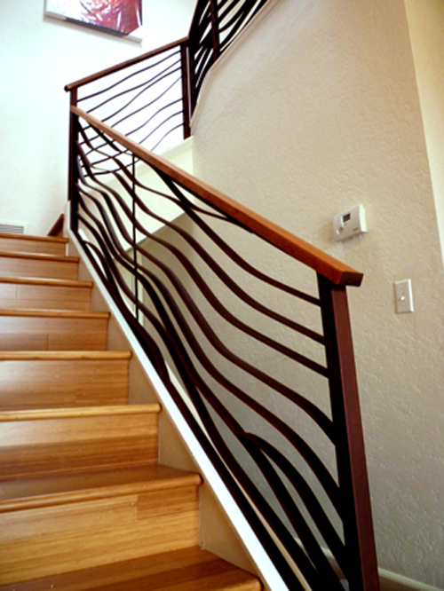 Ocean themed swirling railing banister