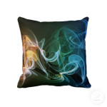 Rainbow smoke throw pillow