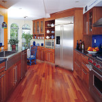 Spacious kitchen with wooden floor