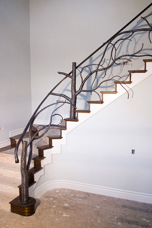 tree style banister stairway railing interior design ideas