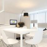 Modern white kitchen and dinner set
