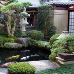Asian style garden with gold fish