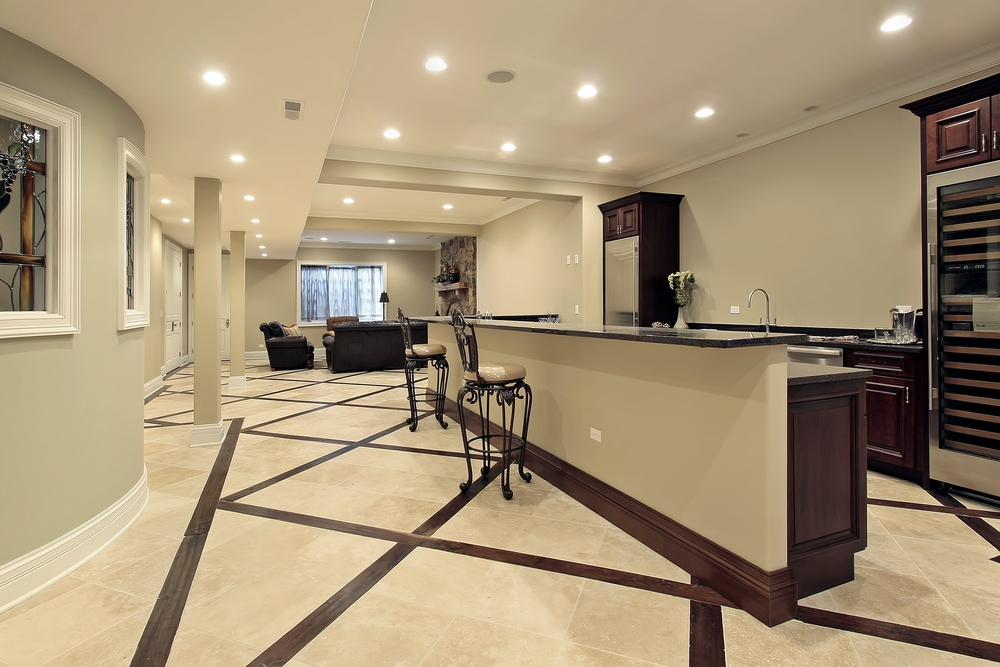 Basement ideas with kitchen and marble
