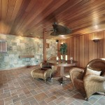 Basement ideas with marble floor and wood