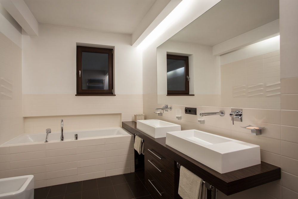 Bathroom With Nice Recessed Lighting Interior Design Ideas