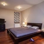 Modern bedroom with wood floor