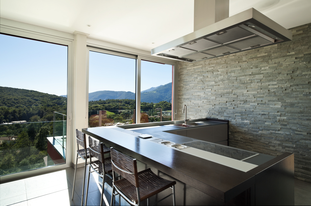 California hills kitchen with rock back drop