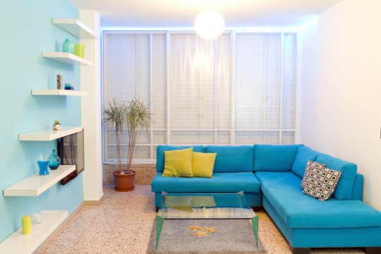 colorful blue living room
