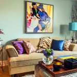 Colorful living room with lamp shades