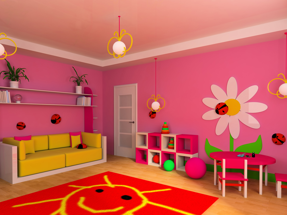 Cute pink kids room with flowers
