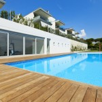 Flat pool with wood deck