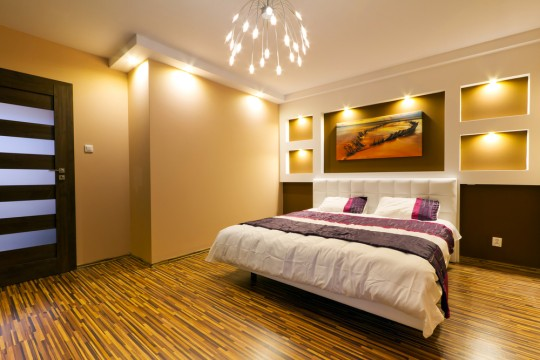 Feng shui bedroom with wood