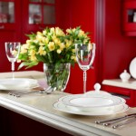 home decor place setting and flowers