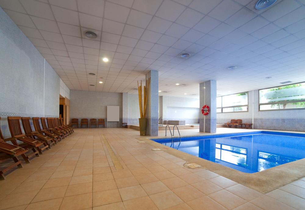 Indoor pool with marble floor