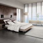 Modern bedroom with custom bed frame