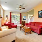 Modern cozy red beige living room