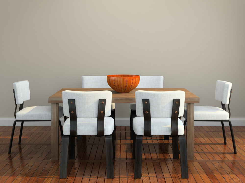 Modern dining room with steel chairs