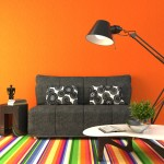 Orange room with colorful rug