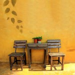 Outdoor wood dining room table