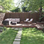 patio in garden with plants