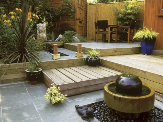 patio with plants